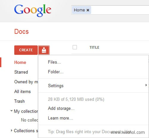 How to increase gdrive google docs space from 1gb to 5gb for Google docs download storage
